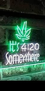 ADVPRO LED Neon sign light-ing Dual-color GROW Marijuana CBD Open Hemp Oil High Life Weed Green High