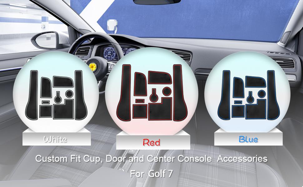 Cdefg Golf 7 R Gtd Gti Gte Auto Innere Türschlitz Rutschfest Anti Staub Becherhalter Matte Arm Box Aufbewahrung Pads Blau Auto