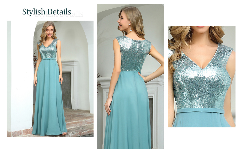 Ever-Pretty A-line Sequin Wedding Guest Dress for Women Deep V-neck Chiffon Dress with Cap Sleeves