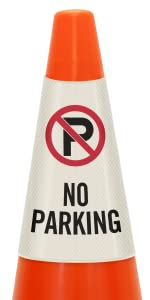 No Parking Traffic Cone Message Collar, Prismatic Reflective PVC, Commercial Lot