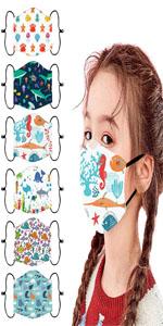6Pcs Kids Face Mask Adjustable