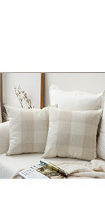 MIULEE Pack of 2 Classic Buffalo Check Pillow Covers Cream White