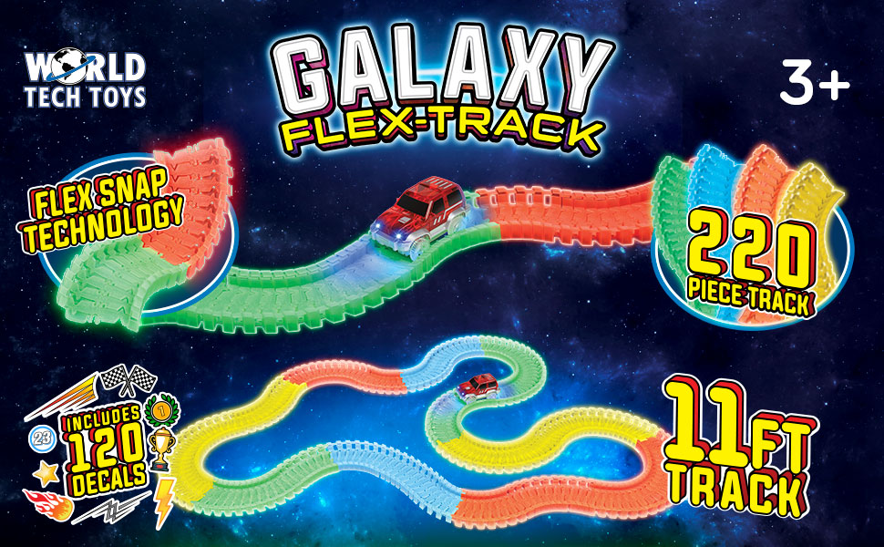 Glow In The Dark Toy Car Track Set With Electric LED Light Car 11ft Bendable Fl