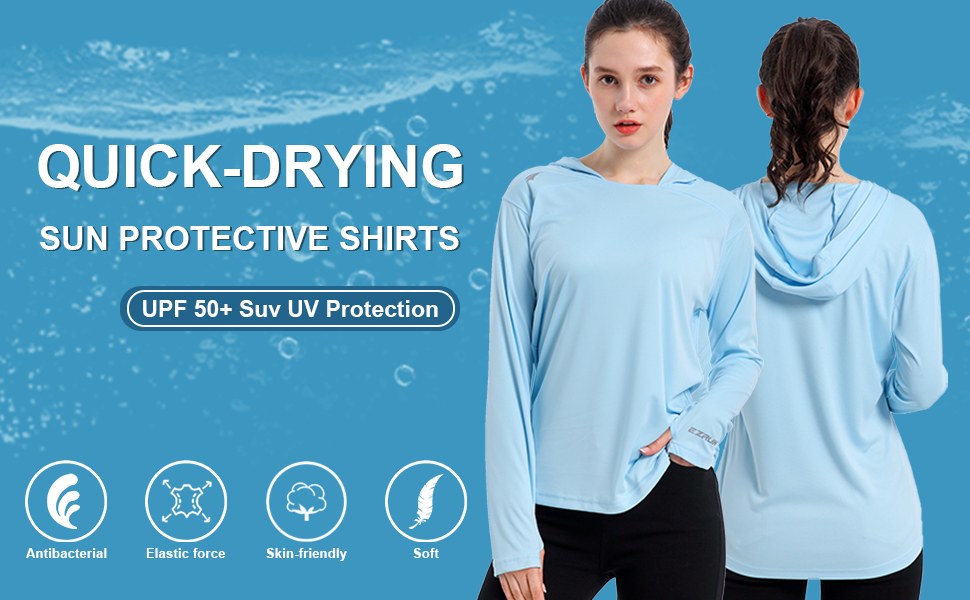 Hiking Sun Protection Hoodie Long Sleeve Athletic Top Shirt with Thumbholes for Running Fishing Womens Slim-fit UPF 50