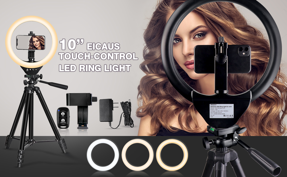 10'' ring light with tripod stand and phone holder
