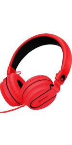 red headphones, foldable headphones