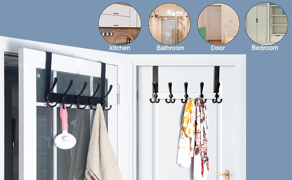over the door hook for hanging coat clothes purse towel rack in door multi hook black white hanger