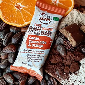Get In Shape, Organic, Complete Plant-Based Protein, Vegan, Gluten-Free, Non-GMO, Cacao Nibs, Orange