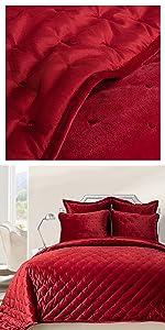 velvet quilt red queen