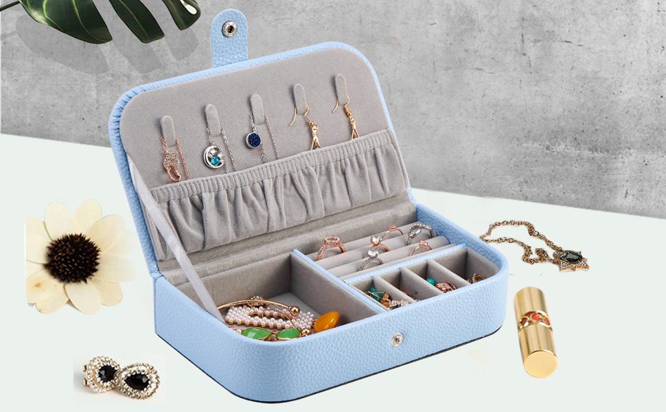 Light Blue Travel Jewelry Case