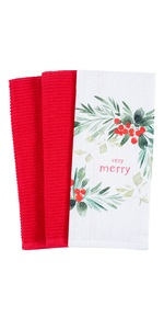 holiday winter merry christmas gift kitchen dish towel cotton terry wreath