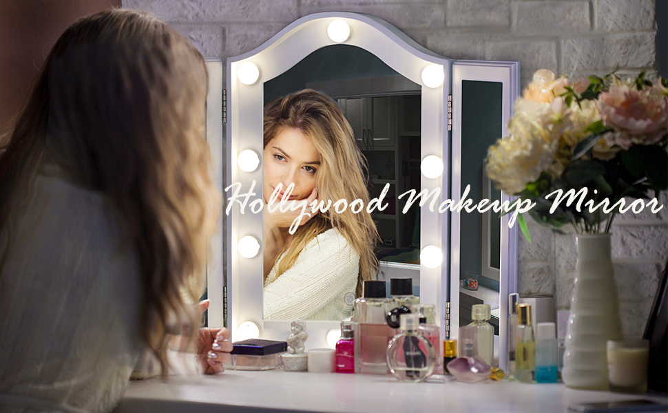 Tabletop Makeup Tri-fold Mirror