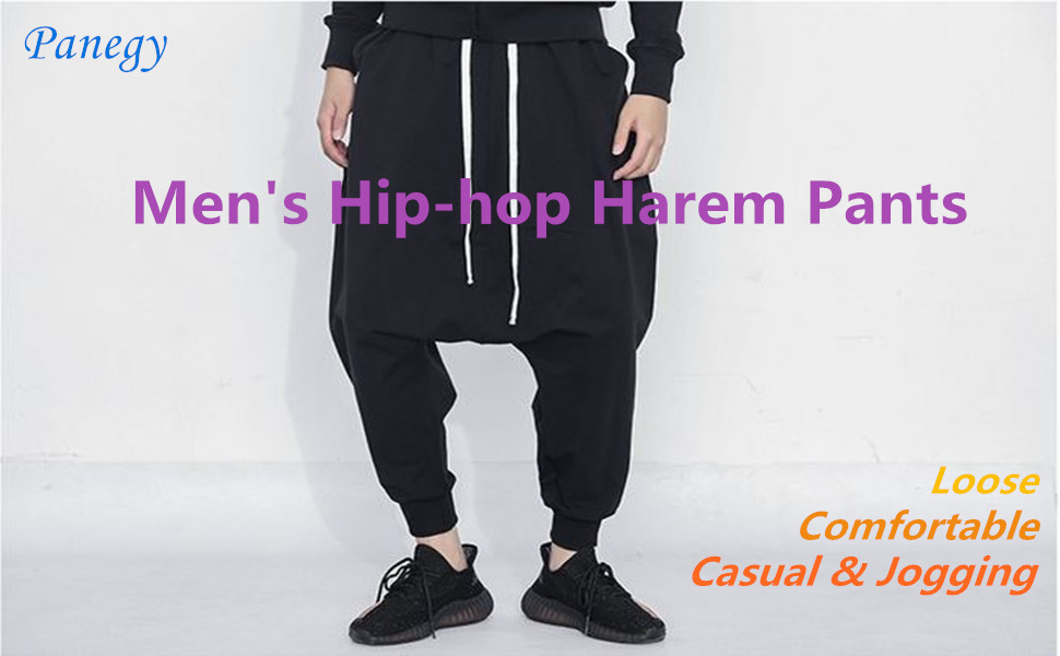 SELX Men Casual Drop-Crotch Dance Sport High Waist Jogging Hip Hop Harem Pants