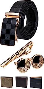gift buckle mens belt black leather big waist mens belt clock wedding gift sets automatic buckle