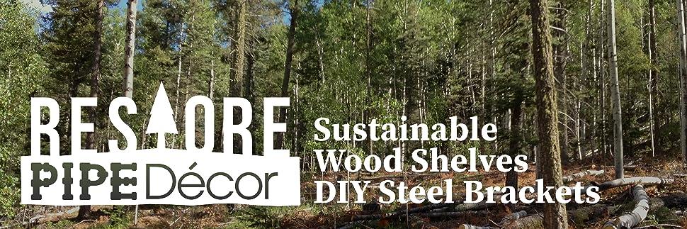 pipe wood shelves steel iron rustic furniture