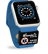 Watchband sleeve MedID. Silicone+metal sleeve fits watch bands 18-24mm wide.  Watch not included.