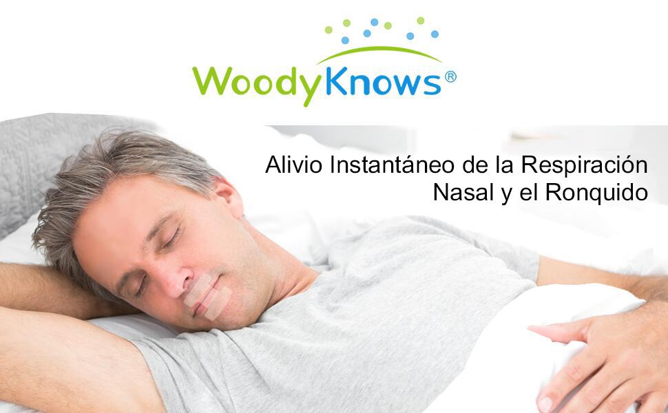 Tiras Bucales de WoodyKnows - Tiras Avanzadas de Dormir para el Sueño de Alta Calidad y Ayuda de Aliviar los Ronquidos Instantáneos, Respiración Nasal ...