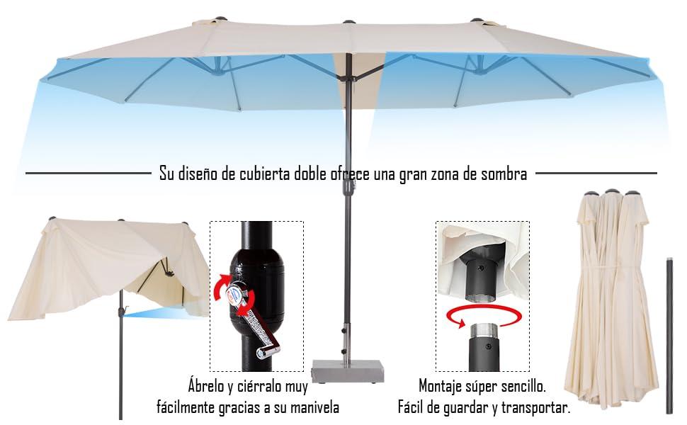 Outsunny Sombrilla Parasol Doble para Jardín Carpas Toldos de Terraza Tela de Poliéster Sombrilla Gigantede para Playa Protección Solar UV 4.6x2.7x2.4m Crema: Amazon.es: Jardín