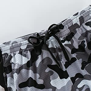urbciety Mens Camo Basketball Shorts Athletic Gym Shorts with Pockets Camo White-S…