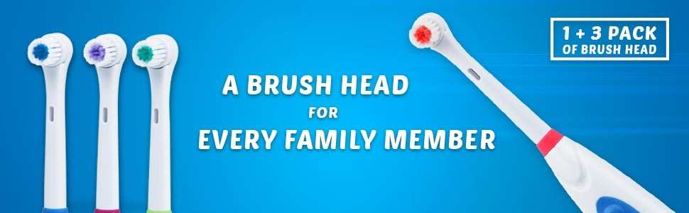 jsb hf27 electric toothbrush with multiple brush heads