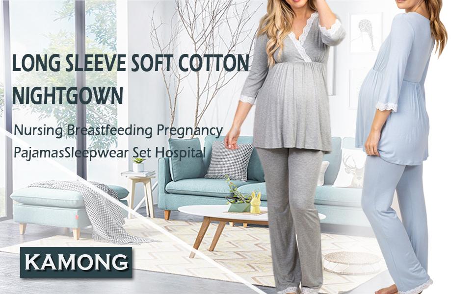 Maternity & Nursing Breastfeeding Pregnancy Pajamas Sleepwear Set