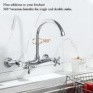 HAOXIN Robinet Cuisine Retro 360/°Rotatif Mitigeur Cuisine 2 Trou 2 Poign/ées Eau Chaude Eau Froide Chrome Style Renaissance traditionnel HXKC02E