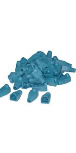 RJ45 Strain Relief Boots, Blue, 50 Pieces Per Bag