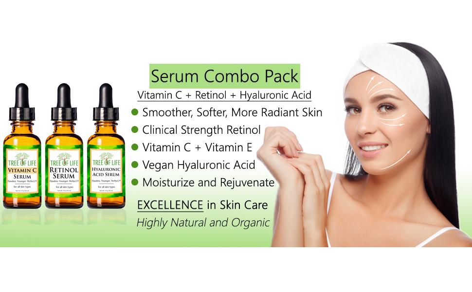 Vitamin C Serum Retinol Cream Hyaluronic Acid Moisturizer Face and Skin Anti Aging Face Skin Care EB