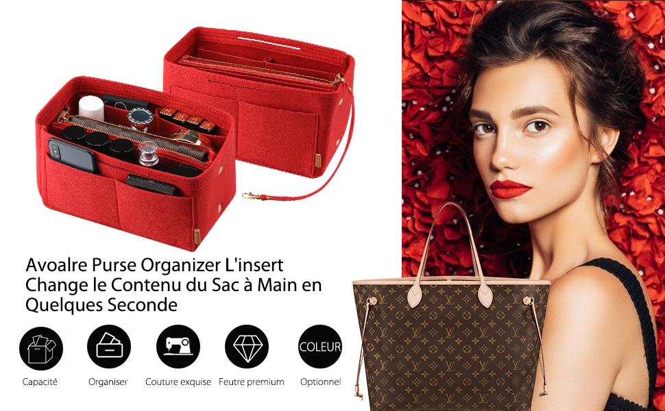 Avoalre Organisateur de Sac /à Main Feutre 29cm x 15cm x 18cm Sac de Rangement Trousse de Rangement Multipoches Femme-Rouge