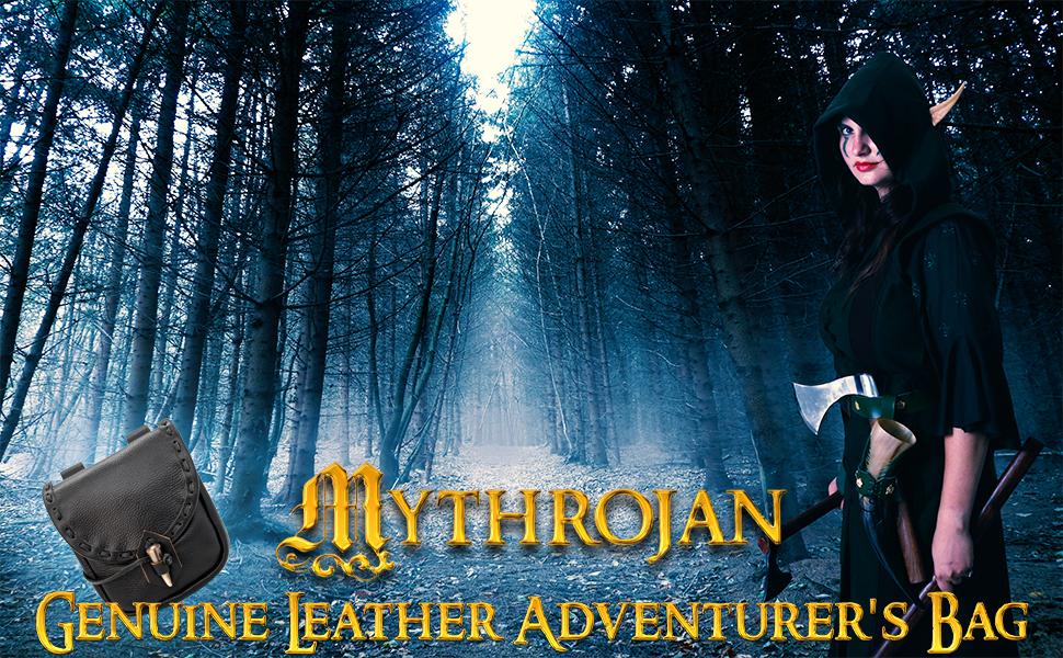 Mythrojan Genuine leather adventurer's bag SCA LARP Reenactment ELF Drow Dark elf knight medieval