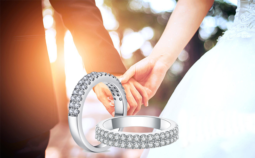 silver engagement band women