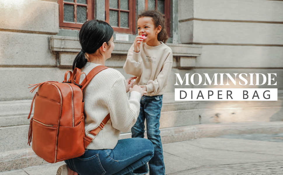 Diaper Bag Backpack Mominside Leather Diaper Bag for Mom and Dad Baby Bag for Boys and Girls