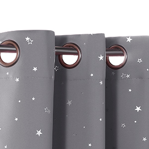 kid curtains with star pattern grommet top blackout curtains
