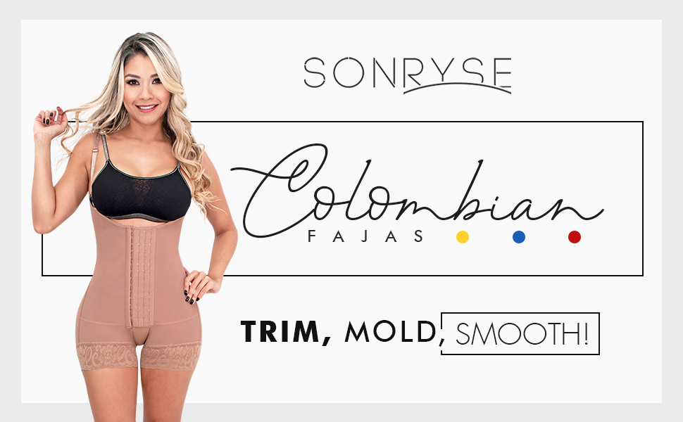 Sonryse 066 Colombian Tummy Control Butt Lifting Shapewear Bodysuit for Women Fajas Colombianas
