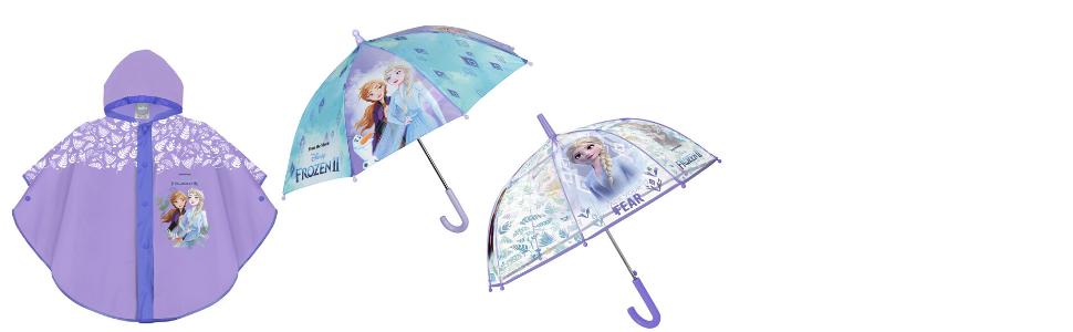 complementos de lluvia Frozen: impermeable y paraguas