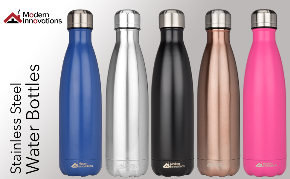 Modern Innovations 17 Ounce Stainless Steel Water Bottles, Vacuum Insulated Double Walled