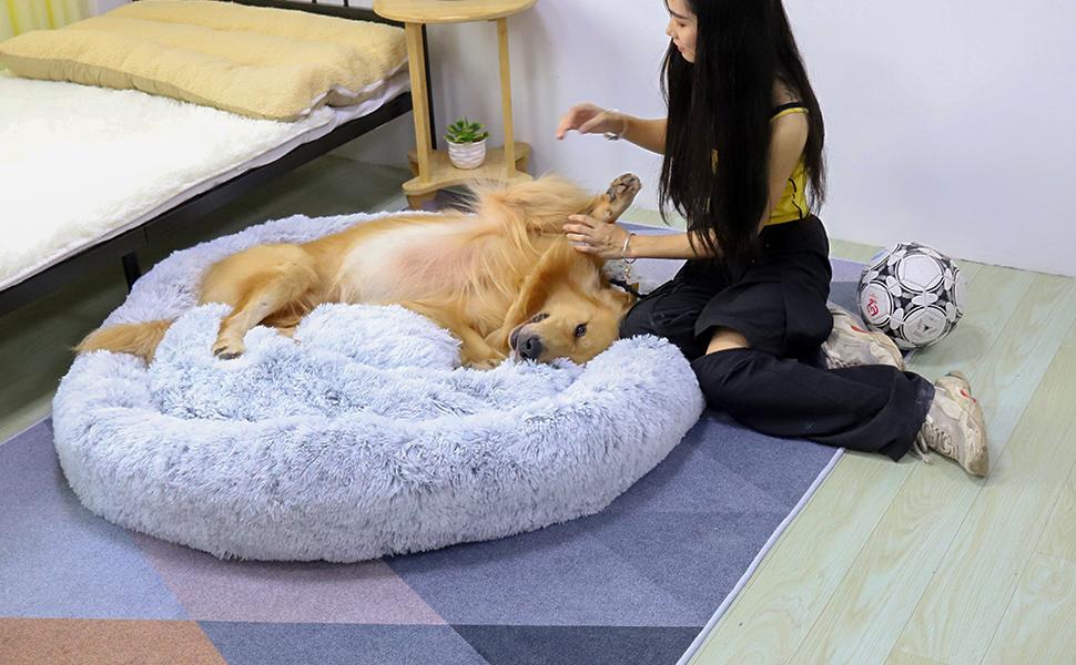 Comfortable Donut Cuddler Round Nest Warm Soft dog bed nest dog bed large Round Donut Pet Bed