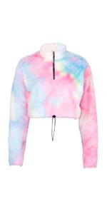 Crop Tops Tie Dye Fuzzy Fleece Pullover