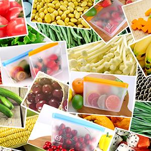 Ideal para Fruta Verduras Carne S/ándwich y L/íquida Bolsas Verticales Con 8PCS PEVA Bolsas de Silicona Reutilizables Bolsas Herm/éticas para Congeladores Joyoldelf Bolsas Silicona Reutilizables
