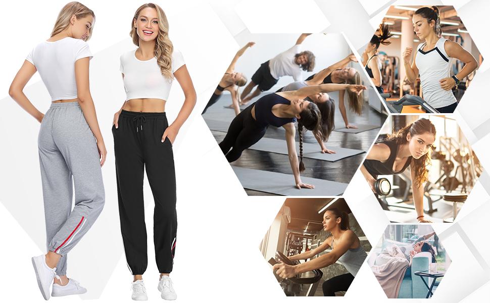 mit Tunnelzug Freizeithose Streifen Lang Frauen Trainingshose mit Tasche und elastischer H/üftbund Sykooria Damen Jogginghose Sporthose