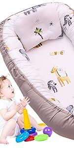 elephant baby nest bed gray grey zebra