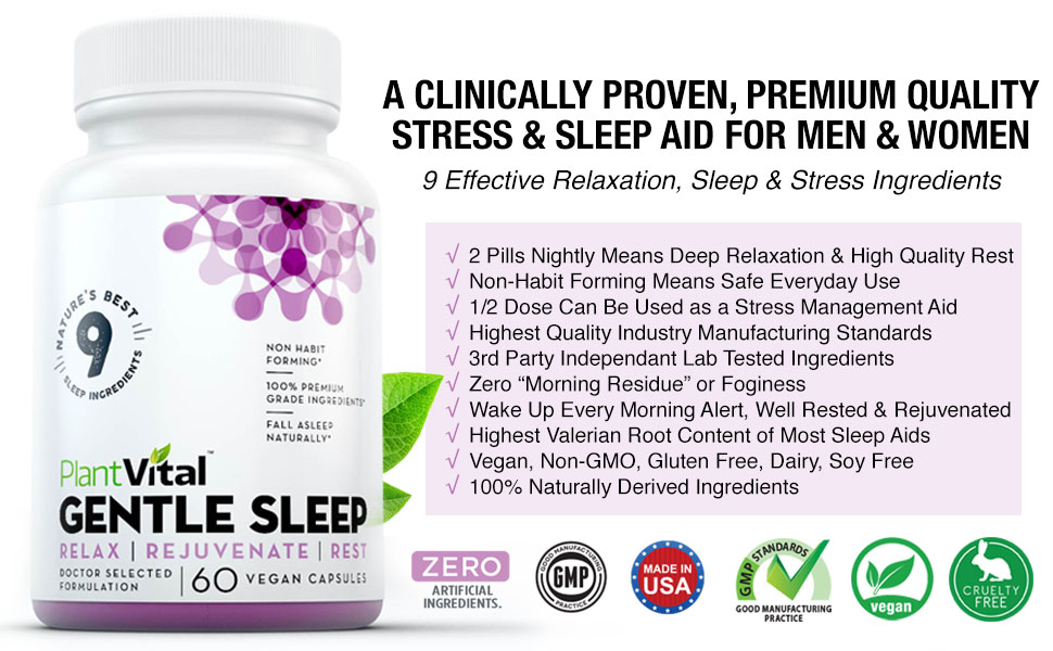 sleeping pills adult natural sleep tablets capsules valerian melatonin all plantvital gentle