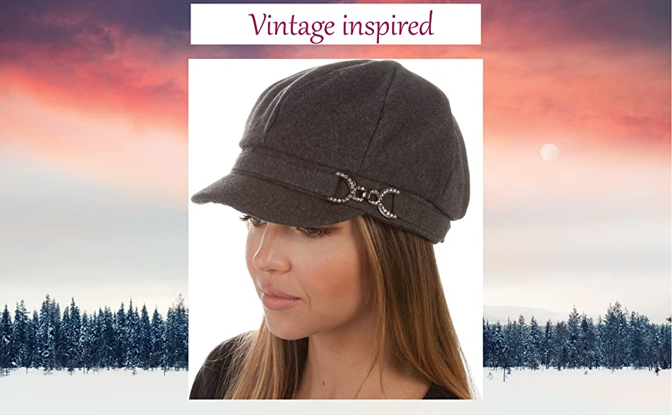 newsboy wool felt floral cabbie hat cold weather winter ski snow casual solid color gift unisex warm