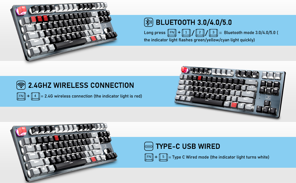 wired wireless gaming keyboard with 3 connection mode