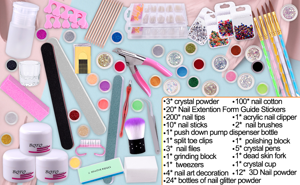 BQTQ nail art kit includes 3 colors crystal powder and come with 18 kinds of tools you might need