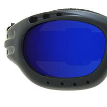 motorcycle biker goggles sun glasses shades blue mirror revo lens strap foam blocks wind