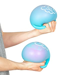 Two stress balls being squeezed