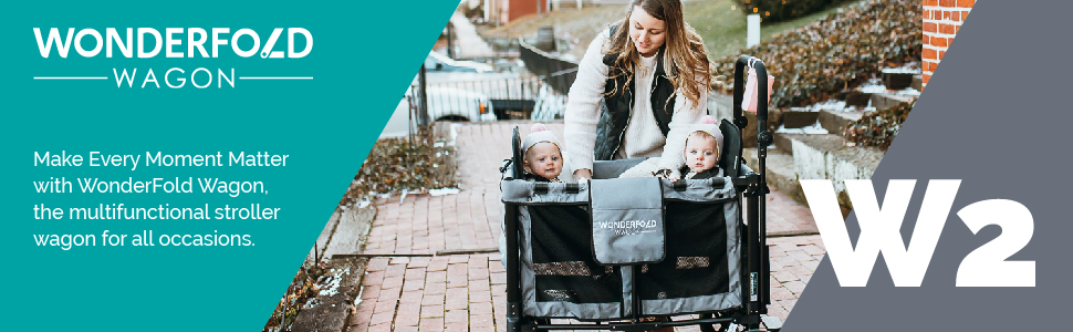 Jet Black Slidable Canopy /& Removable Raised Seats with Footrest WONDERFOLD W2 Multi-Function 2 Passenger Double Folding Stroller Wagon