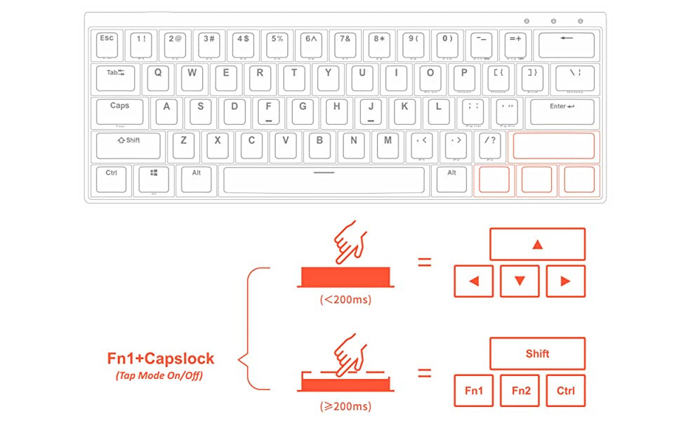 Durgod Venus HK Gaming keyboard tap mode arrow keys