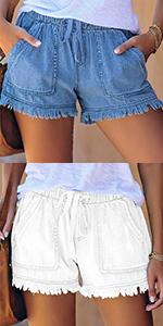 Denim Shorts for Women Casual Drawstring Elastic Waist